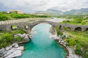 Old Mes Bridge (Albanian: Ura e Mesit) near Shkoder in Albania